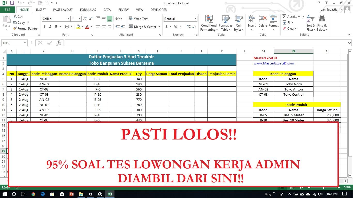 Tes Excel Lowongan Kerja Admin 1